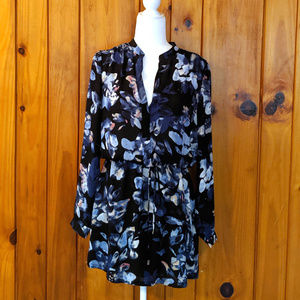 Navy Floral Cinched waist button down lila rose 4